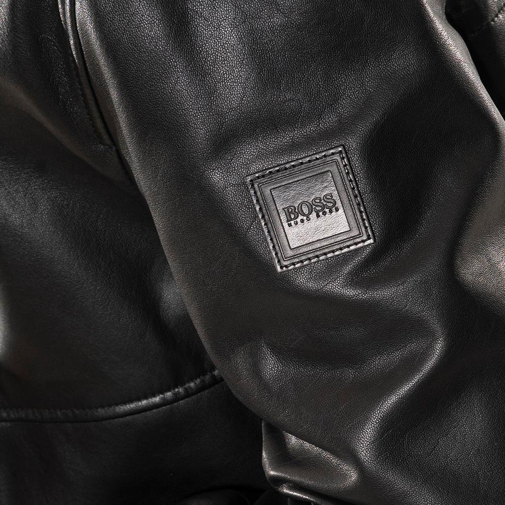 BOSS - Δερμάτινο Μπουφάν Μαύρο